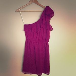 Purple one-shoulder mini dress, sz m